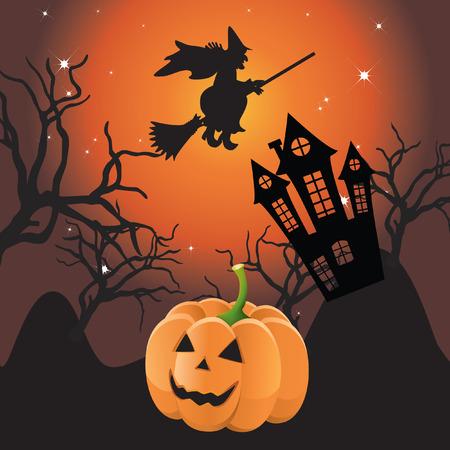 Halloween landscape. Vector
