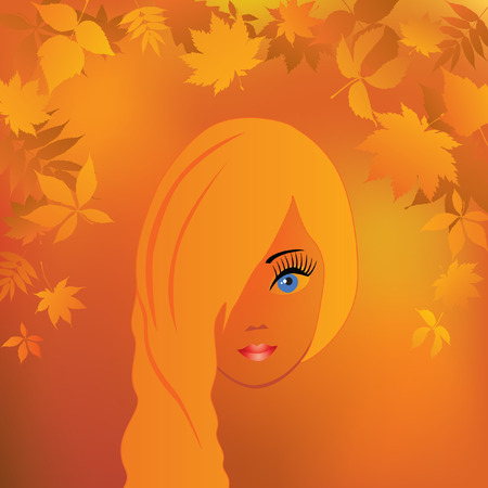 profile picture: The girls face in the autumn background.