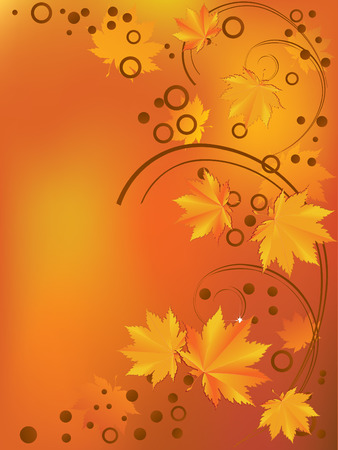 Ornament with yellow leaves. Vector