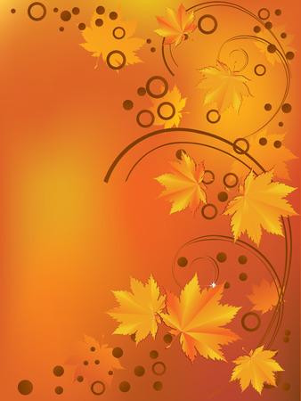 orange swirl: Ornament with yellow leaves.