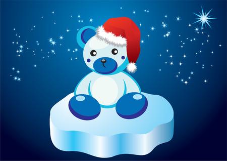 floe: White teddy bear on an ice floe.