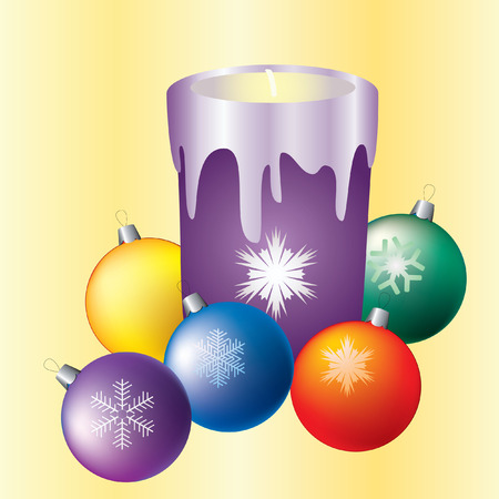 Christmas candles and colored balls.