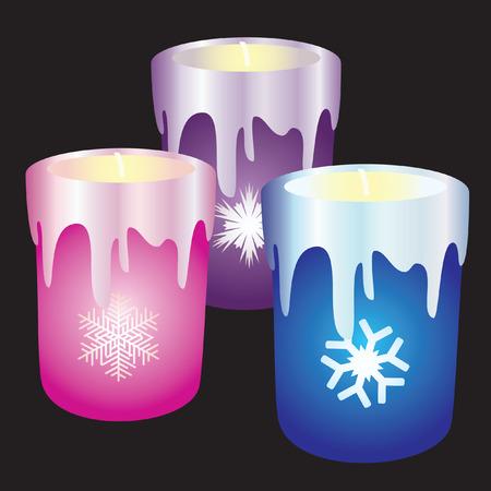 Three Christmas candles.
