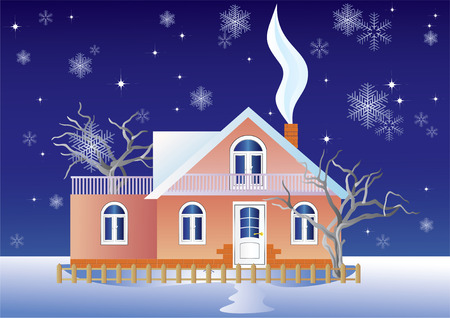 Cottage on a background of snow and the night sky. Vector