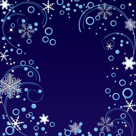 Abstract ornament with snowflakes on a blue background. Vector