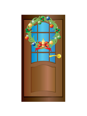 Brown door with a Christmas wreath on a white background. Vector