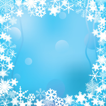 Frame of white snowflakes on a winter background. Vector