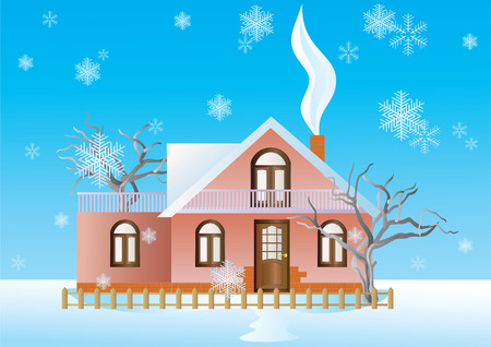 Cottage in the winter background with snowflakes  Stock Vector - 8213097