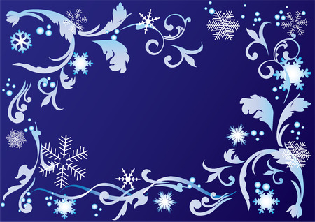 Abstract frame with snowflakes and ornaments  Vector