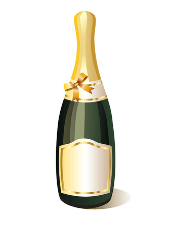 bottle of champagne and gold ribbon Vector