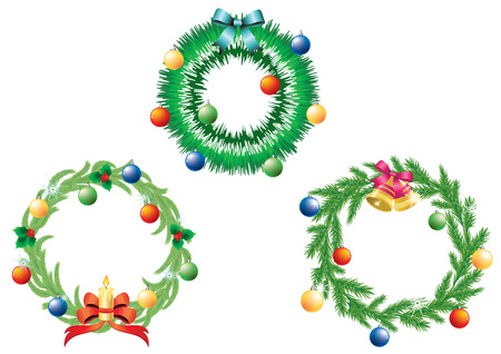 Three Christmas wreath on white background.  Vector