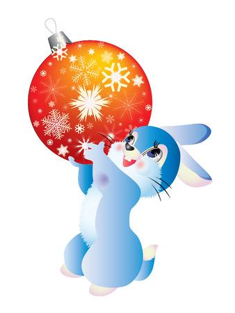 rabbit with orange Christmas ball on white background.