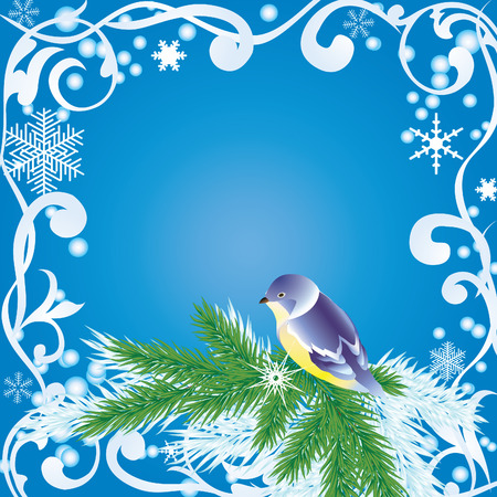 pine branch: Winter frame with snowflakes, pine branch and the bird.