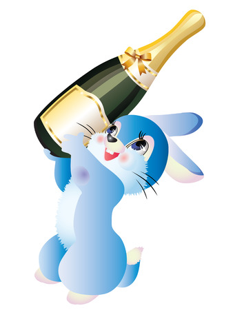 asian bunny: bunny with a champagne bottle on a white background. Illustration