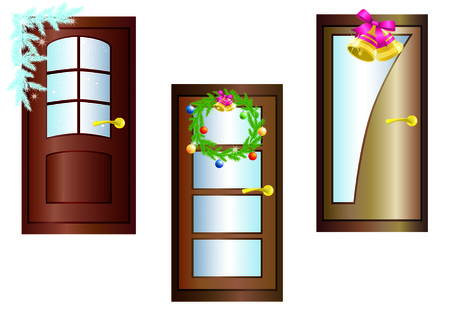 Three doors decorated with Christmas garland, boughs of pine and bells. Vector