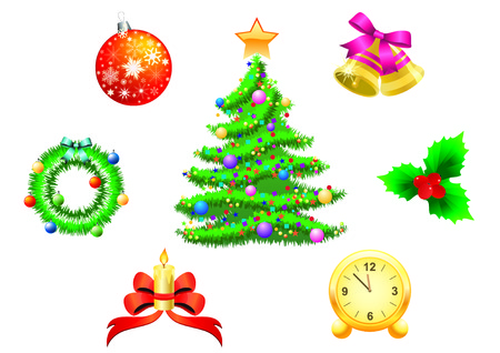 Christmas background with tree, wreaths, clocks, bells, balls. Vector