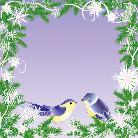 premises: Frame from branches of the green pine with snowflake and bird.