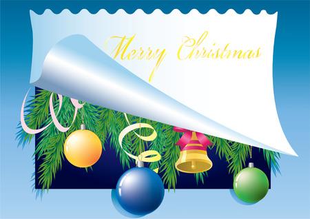 merrily: Sfondo Natale con foglio di carta, palla di colore e ramo di pino. Vettoriali