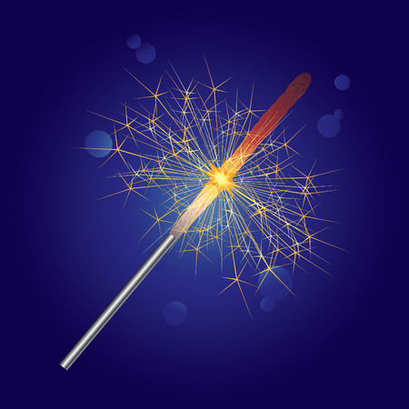 sparkler on a blue background. Stock Vector - 8435465