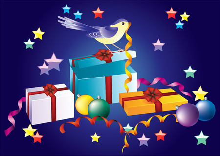 Festive background with boxes, balloons and birds. Vector