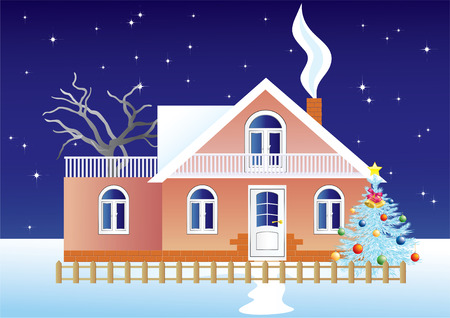 House-cottage and the Christmas tree in the background of a starry sky. Vector