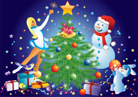 Christmas background with tree, the Snow Maiden, snowmen, rabbits, and gifts. Vector