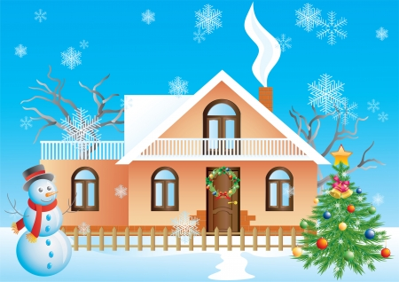 Christmas landscape with house, tree and snowman.