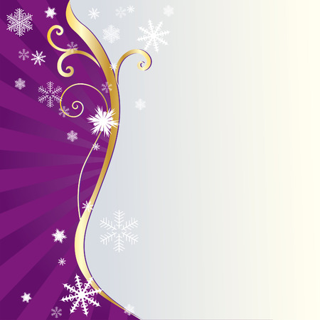 Abstract background with golden ornaments and snowflakes. Vector