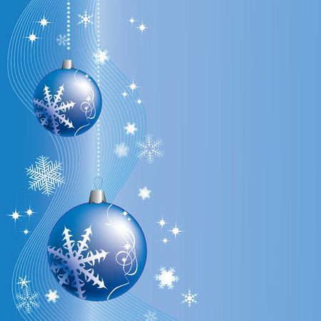 Christmas background with blue balls, snowflakes and stars.