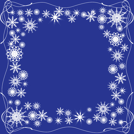 Winter frame of snowflakes on a blue background. Vector