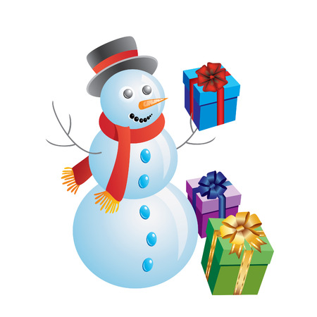 snowman with gift box on white background. Stock Vector - 8476523