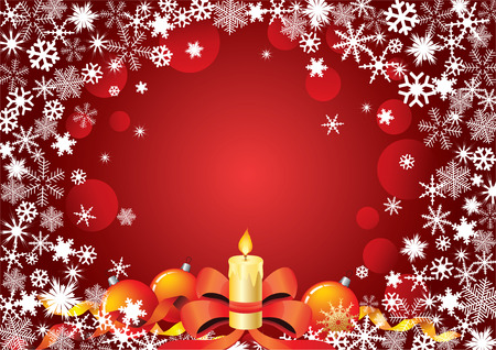 Christmas background with a candle, balloons and the frame of the snowflakes.