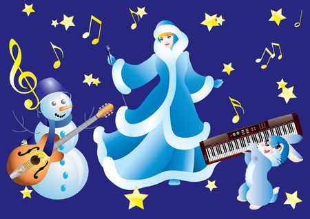 Snowman, Snow White and the rabbit with musical instruments on a blue background. Vector
