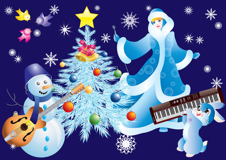 Snowman, Snow Maiden, a rabbit with musical instruments and a Christmas tree. Vector