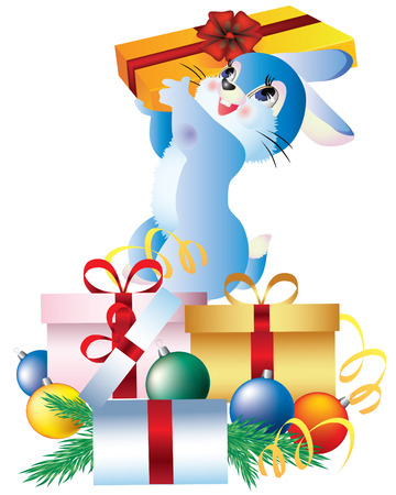 Vector rabbit and a box of presents and Christmas balls. Stock Vector - 8482691
