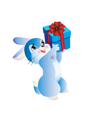 currently: Vector rabbit with a blue box with a gift.