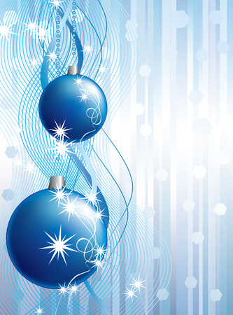 Christmas balls on the background of blue ribbons and stars. Illustration