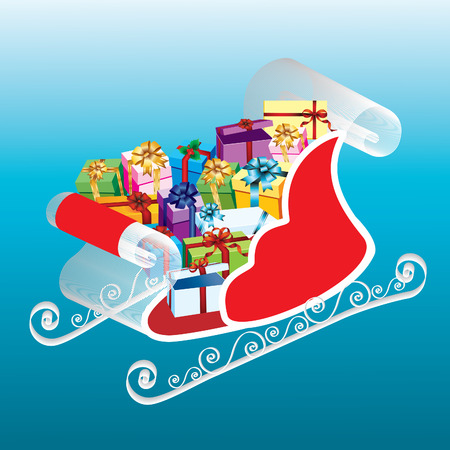 clause: Red sleigh with boxes on a blue background.
