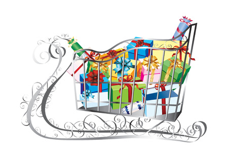 Sleigh with boxes on a white background. Vector. Stock Vector - 8510247