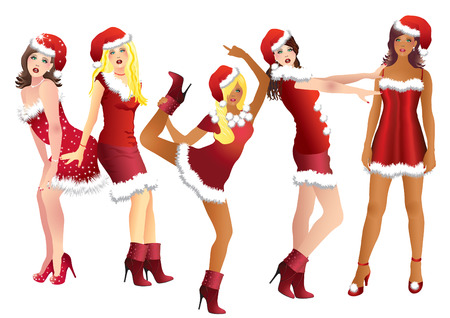 Five Snow Maidens in red suits and Christmas bell.