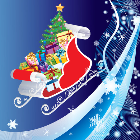 Sledge with pine and gifts on a blue background with ribbons and snowflakes Vector