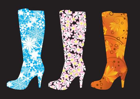 Abstrakt Stiefel, geschmückt mit Schneeflocken, Blumen und Blätter. Vektorgrafik