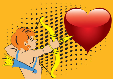 A man shooting a bow and red heart on an orange background. Stock Vector - 8510251