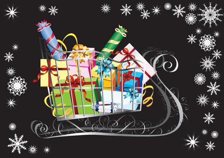 Sleigh with presents on a black background with snowflakes. Stock Vector - 8510255