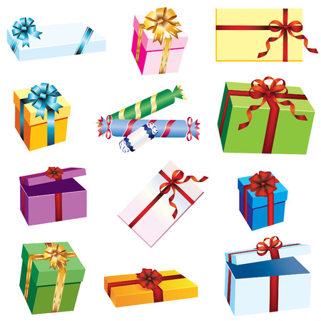 Colored gift boxes with ribbons on a white background. Ilustração