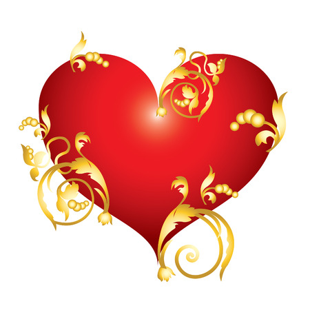 Abstract red heart with golden ornaments