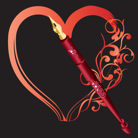 coeur diamant: Stylo rouge, un c?ur de dessin  Illustration
