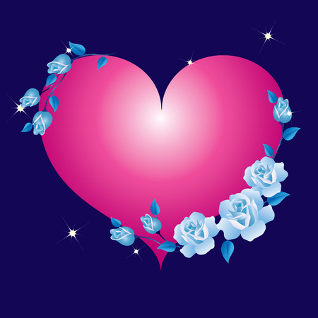 Abstract heart framed with blue roses  Vector