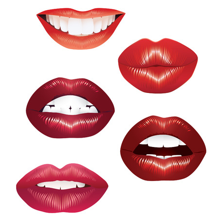 lip gloss: Womans lips on a white background, vector.