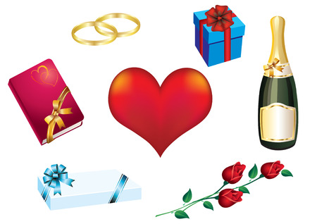 Background Valentines Day with a red heart, a bottle of champagne, flowers, gifts and rings. Vector